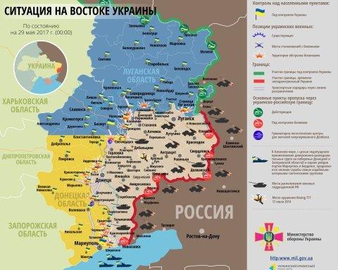 Карта АТО на 29 мая: на всех направлениях зафиксирована активность боевиков