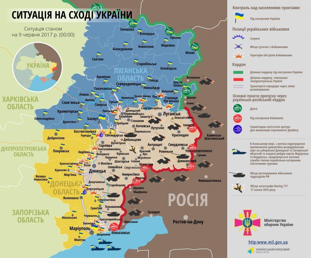 Карта АТО на 9 червня: бойовики не припиняють провокації