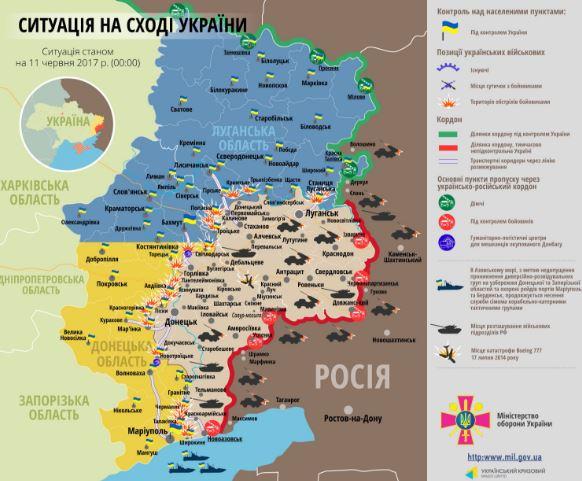 У РНБО показали на мапі АТО «найгарячіші» точки Донбасу