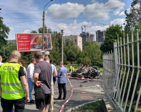 Місце вибуху авто в Києві