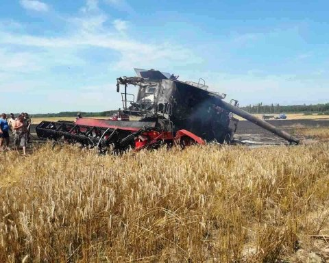 Из-за короткого замыкания в комбайне на Житомирщине сгорело 3,5 га посевов