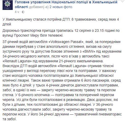 Масштабна ДТП у Хмельницькому: постраждали діти, є фото