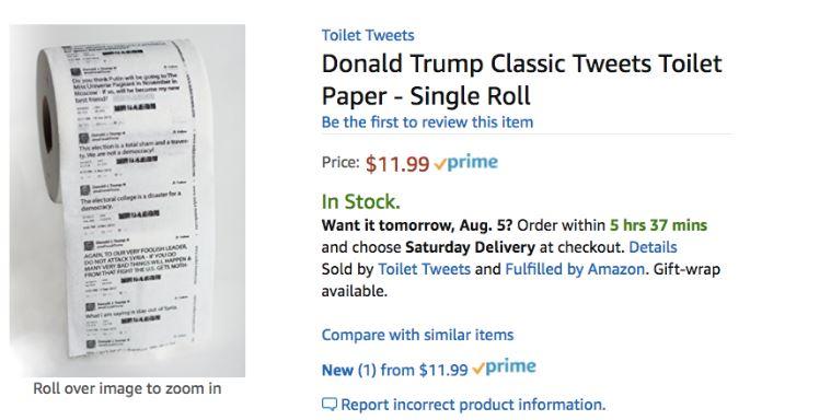 НаAmazon начали торговать туалетную бумагу ствитами Трампа
