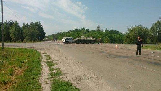 ВРовенской области БТР столкнулся смикроавтобусом