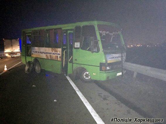 УХаркові ваварії автобуса таавтівки водій загинув, 5 пасажирів постраждали