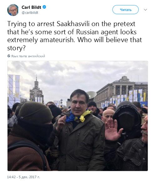 Бильдт назвал «чрезвычайным аматорством» попытку ареста Саакашвили в Киеве