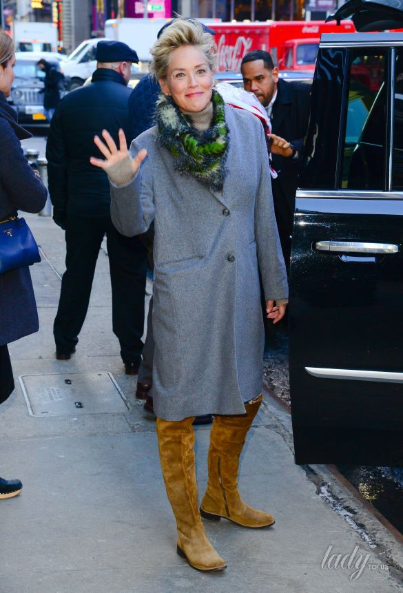 Шэрон Стоун в стильном образе на улицах Нью-Йорка