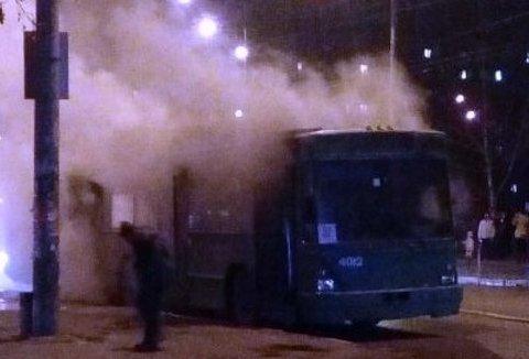 У Києві горів тролейбус (фото)