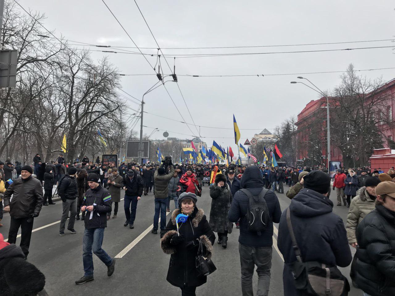Без Саакашвили: в Киеве проходит очередной марш за импичмент