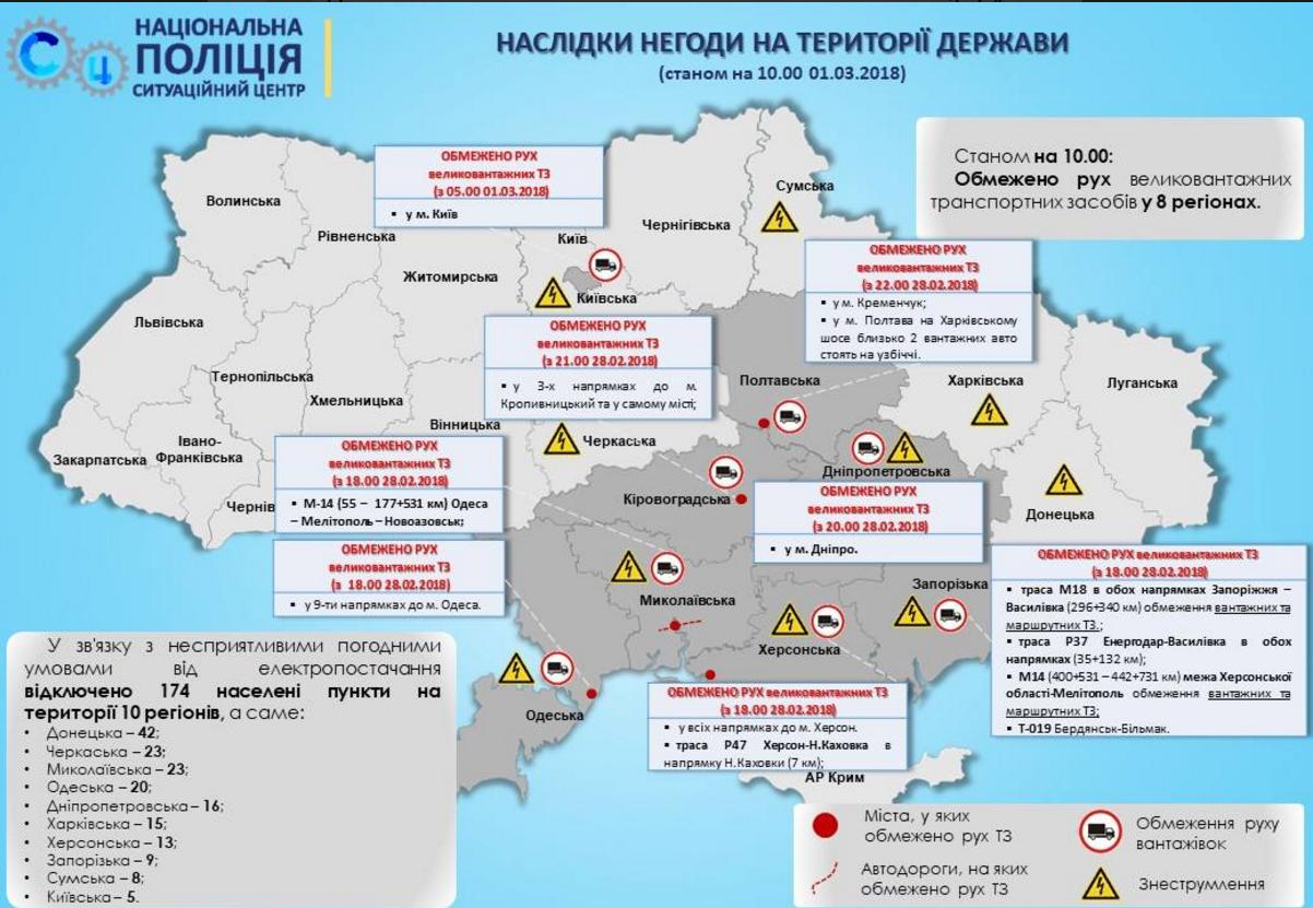 Непогода сковала Украину: движение транспорта ограничили в 8 областях