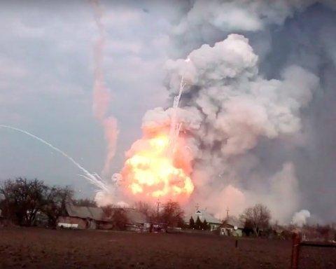 З'явилося відео пожежі на складі боєприпасів ООС під Донецьком