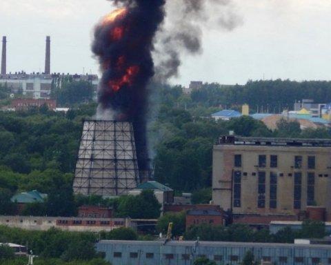 В России случился пожар: пылает Саранская ТЭЦ