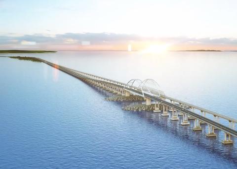 """З'явилися фото """"перевантаженого"""" моста в Крим"""