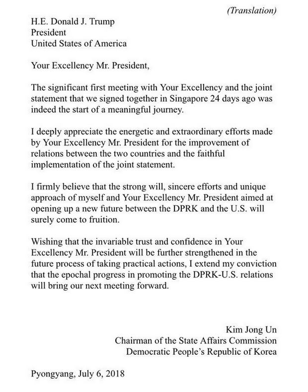 Трамп опубликовал важное письмо от Ким Чен Ына