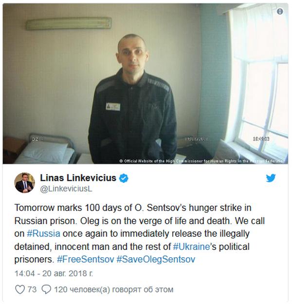 МИД Литвы обратился к РФ по случаю сотого дня голодовки Сенцова