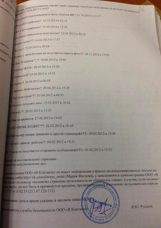 """""""ВКонтакте"""" зливає російським правоохоронцям дані користувачів – фотодоказ"""