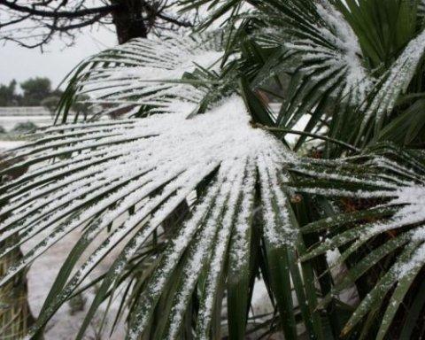 На популярному пляжному курорті випав сніг: вражаючі кадри