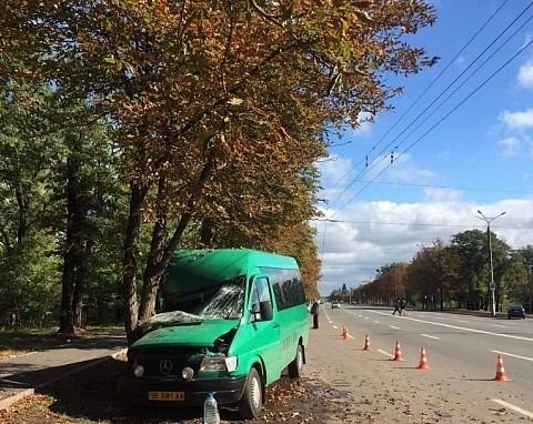 Жуткое ДТП: маршрутка врезалась в дерево, десятки пострадавших