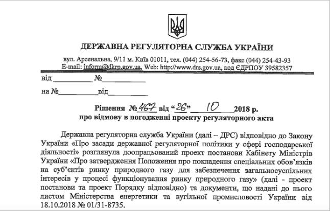 Регуляторна служба непогодилася зпропозицією уряду стосовно підвищення ціни нагаз