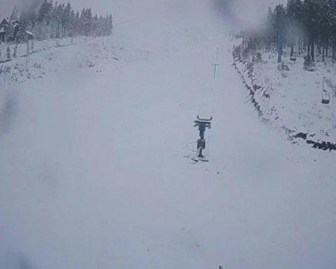 Снег в Карпатах: появилось новое яркое видео