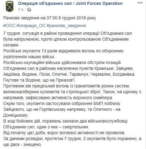 Війна на Донбасі: українські сили зазнали втрат