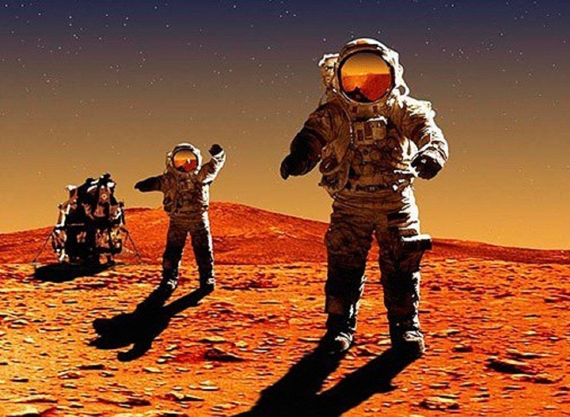 Картинка марс и космонавт