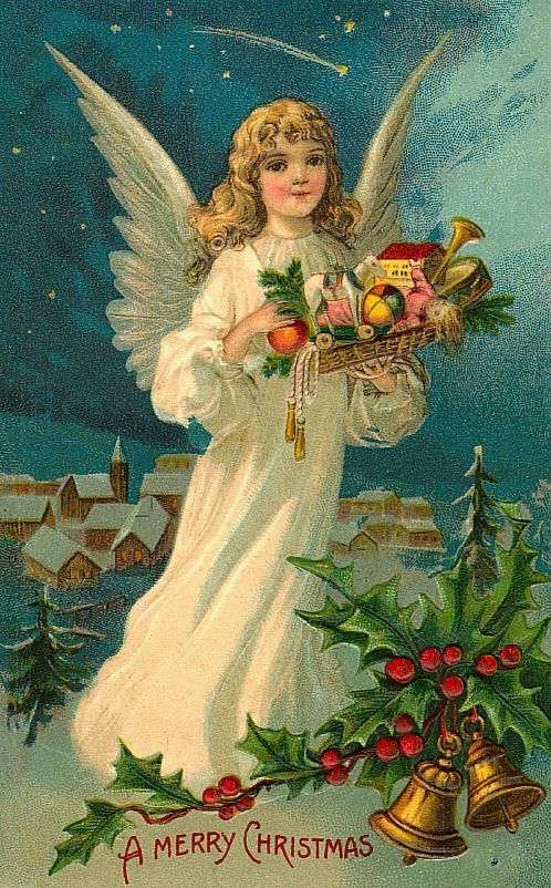 Старые рождественские открытки с ангелами