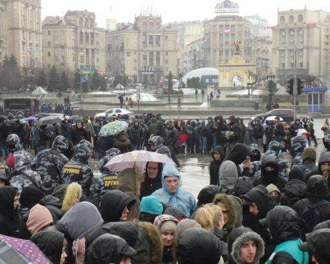 На акцію Нацкорпусу в Києві прийшли алкоголіки: націоналісти згадали про СБУ