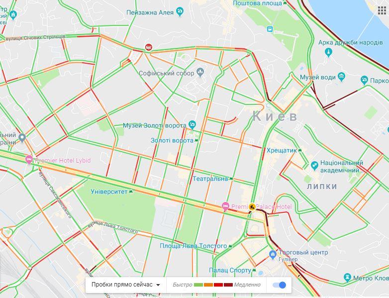 Киев замер в затяжных пробках: где не проехать