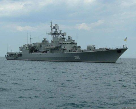 Флагман ВМС Украины потренировался взаимодействовать с авиацией