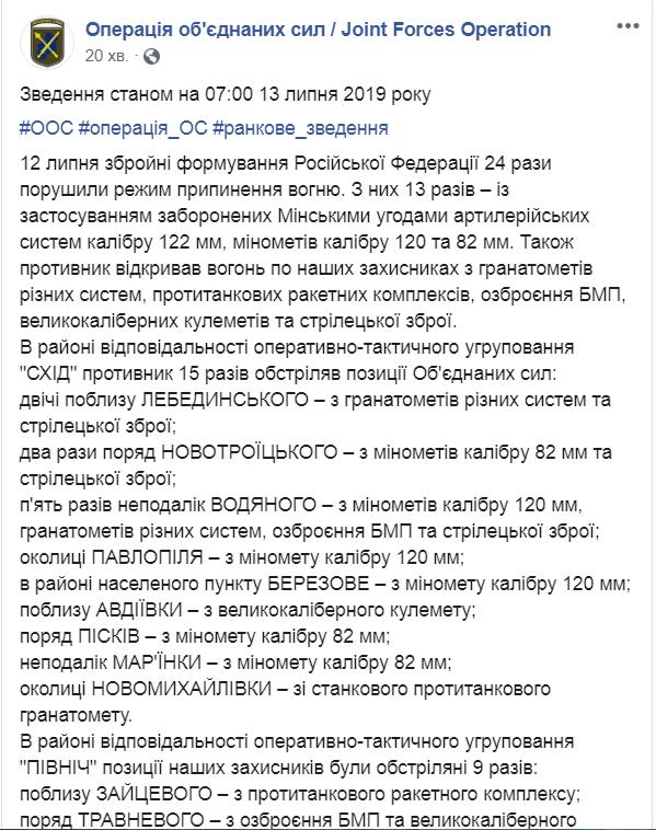 Ситуация на фронте: 24 обстрела боевиков, в ВСУ есть раненые