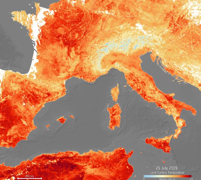 Рекордная жара в Европе: снимки из космоса