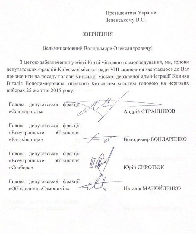 Зеленского просят назначить Кличко главой КГГА — документ
