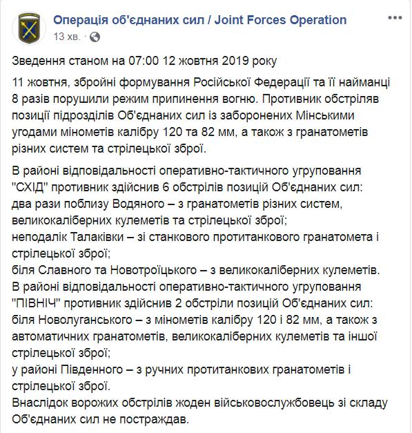 Ситуация на фронте: боевики провоцировали украинских защитников