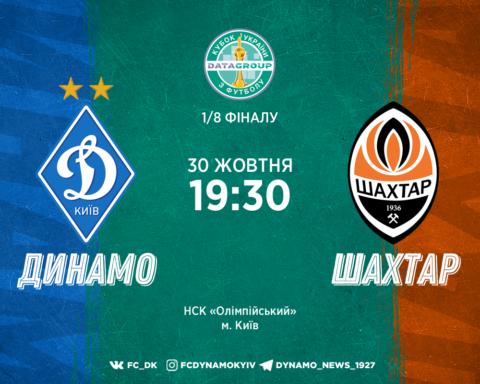 Динамо – Шахтар – 2:1: онлайн-трансляція матчу Кубка України