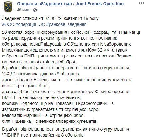 На Донбассе боевики обстреляли украинских защитников из пулеметов