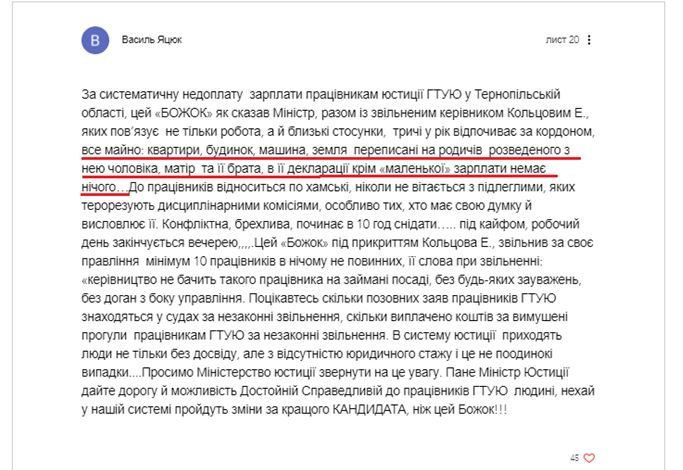 Растущие аппетиты: тернопольский коррупционер Татьяна Вовк претендует на новую должность в Минюсте