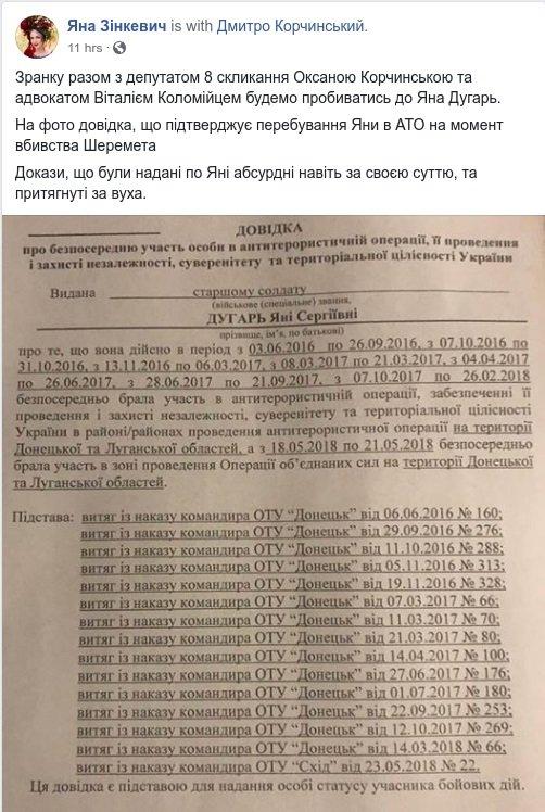 Вбивство Шеремета: з'явився документ, який спростовує підозри проти Яни Дугар