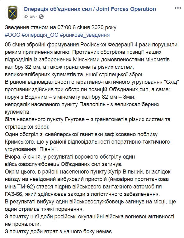 Війна на Донбасі: ЗСУ зазнали втрат