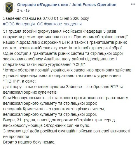Новий рік на Донбасі: бойовики обстріляли наших захисників