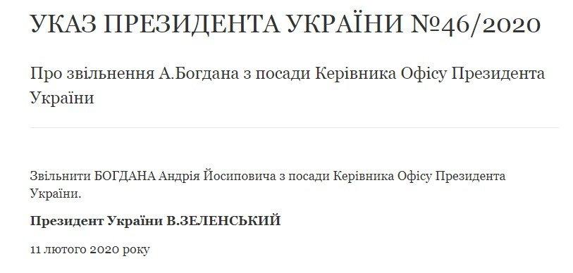 Зеленський звільнив Богдана: хто очолить Офіс президента