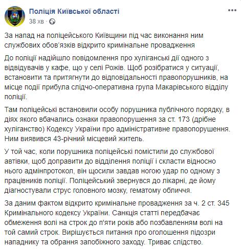Били ногами по лицу: под Киевом напали на полицейского