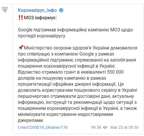 Google дав Україні півмільйона доларів на боротьбу з коронавірусом