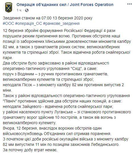 Бойовики відкрили мінометний вогонь по захисниках Донбасу: подробиці