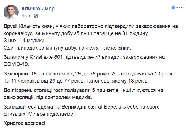 В Киеве возросло число больных COVID-19, один человек умер
