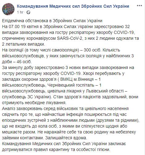 В ВСУ обнаружили еще три случая COVID-19