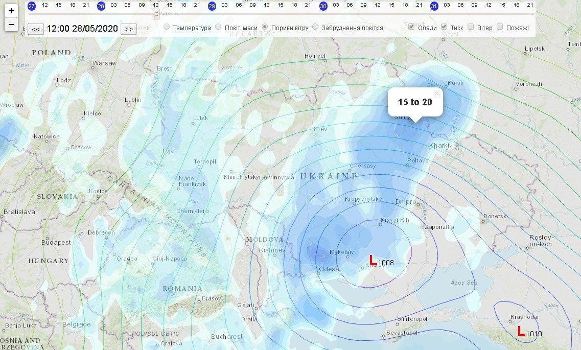 На Украину надвигается мощный циклон: синоптическая карта