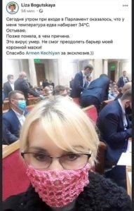 Нардеп Богуцкая пришла в Раду в вязаной маске: шокирующее фото