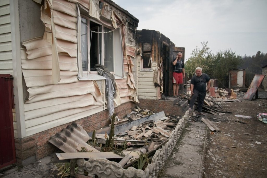 Пожар в Луганской области мог произойти после попадания снаряда со стороны боевиков