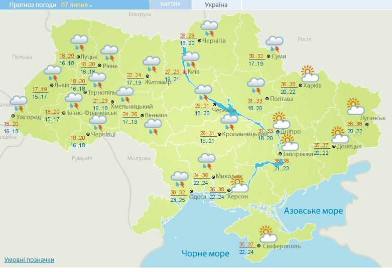 Шквали, град і сильна спека: прогноз погоди на 7 липня